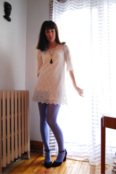 black Maraisusacom heels - white H&M dress - periwinkle HUE tights