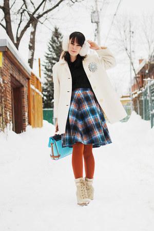 blue thrifted skirt - black Forever 21 dress - off white thrifted vintage coat