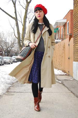 tawny vintage boots - navy vintage dress - red vintage hat - tan vintage jacket