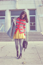 mustard OASAP skirt - black vintage boots - heather gray vintage coat