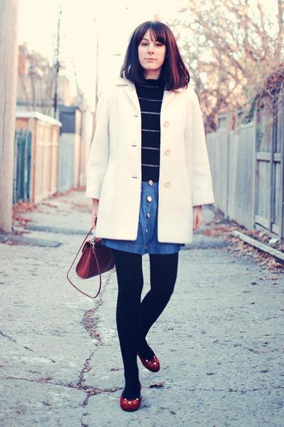tawny vintage purse - ivory thrifted vintage coat