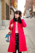 hot pink vintage coat - navy Mia Mix dress - bubble gum UO sweater