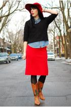 tawny vintage boots - teal vintage boots - red vintage hat