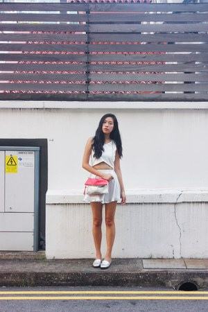 hot pink H&M bag - ivory H&M skirt - white Taobao top - ivory Taobao loafers