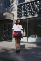 dark brown asos boots - red mini sling from Korea bag - navy Hong Kong skirt