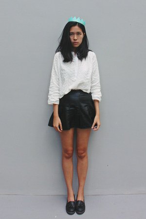 white Taobao shirt - navy asos loafers