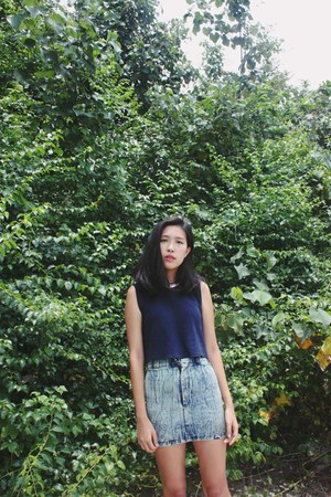 navy from Korea top - light blue Taobao skirt