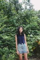 navy from Korea top - light blue Taobao skirt