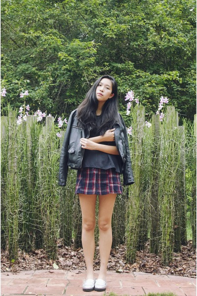 navy chiffon Taobao top - black leather from France jacket