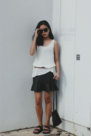 black H&M sunglasses - black mermaid asos skirt - black asos sandals