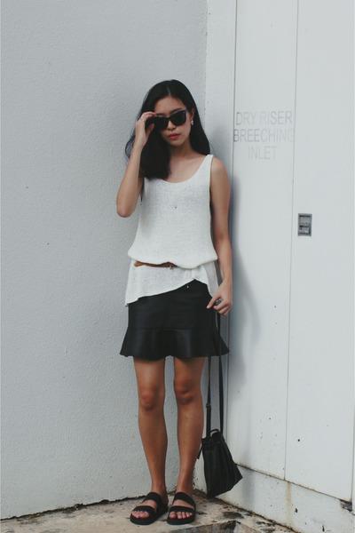black H&M sunglasses - black mermaid asos skirt - black asos sandals