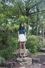 Dark-green-mock-neck-sillom-top-white-american-apparel-skirt