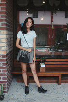 black Topshop boots - black from Korea bag - periwinkle f21 top