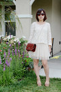 Cream-dress-brown-box-purse-purse-black-sunglasses-cream-creme-lace-top