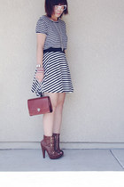 white clear glasses - box bag - black bw stripe skirt - heels