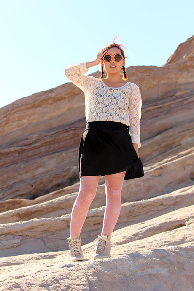 cream lace top - orange circle sunglasses - beige wedge sneakers