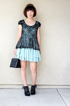 skirt - lace knit top top - black wedges