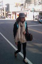 black DC jacket - brown top - beige scarf - brown accessories - black leggings -