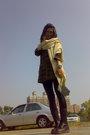 Brown-top-black-leggings-black-boots-beige-scarf