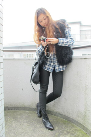 Zara shirt - Zara boots - coach bag - DIY vest - Zara pants