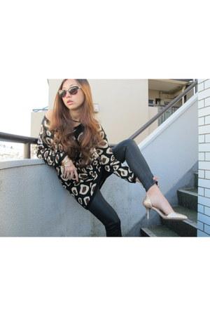 H&M sweater - black Zara pants - yellow Zara heels