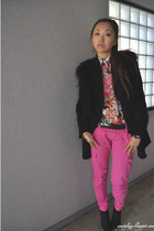 hot pink Zara pants - black H&M boots - black Anne Klein coat