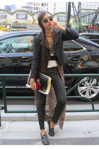 black Zara jacket - brown UNIF shirt - black Zara pants