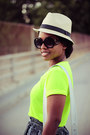 Unknown-shorts-fedora-unknown-hat-neon-v-neck-tee-unknown-shirt