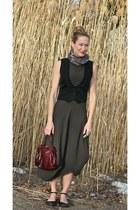 thrifted vest - Ronen Chen dress - Okaidi scarf - carlos falchi bag
