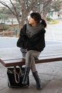 Black-forever-21-boots-black-gucci-accessories-hanii-y-coat