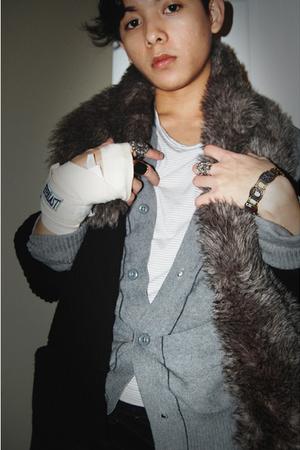 black Gap cardigan - gray thrifted cardigan - brown H&M scarf - white UO shirt