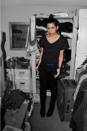 black H&M shirt - black Silence & Noise pants - black sam edelman boots - blue H