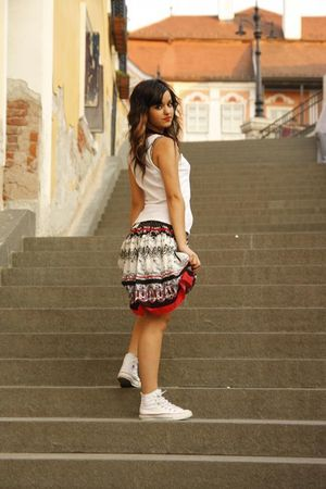 white Converse shoes - white Vero Moda shirt - red recplay skirt