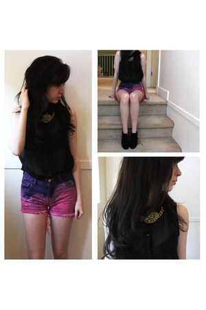 DIY shorts - gold H&M necklace