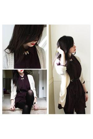 deep purple thrifted dress - cream cream Urban Outfitters cardigan