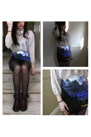 turquoise blue landscape Motel skirt - dark brown H&M boots