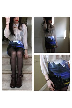 turquoise blue landscape Motel skirt - dark brown H&M boots