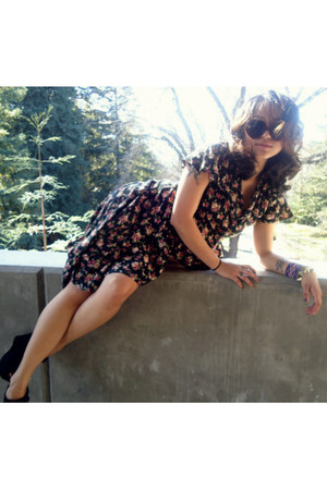 altered thrifted dress - heart shaped H&M sunglasses - suede Steve Madden wedges