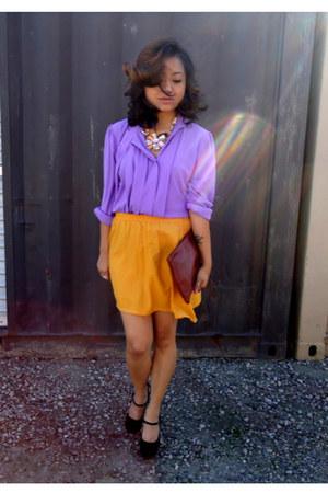 thrifted bag - thrifted skirt - thrifted vintage blouse - UrbanOG pumps
