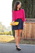 navy polka dots Zara dress - bubble gum neon pink H&M sweater