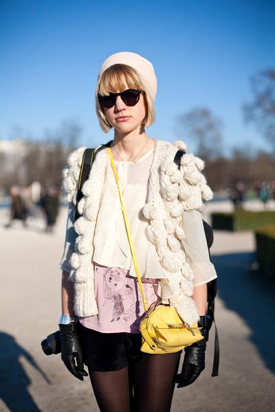 beige blouse - beige sweater - yellow purse
