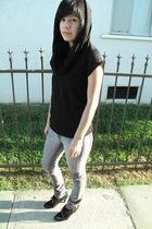 black H&M shirt - black Zara shoes - purple Kill City jeans