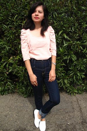 blue Silence  Noise jeans - pink H&M shirt - white Jeffrey Campbell shoes