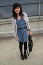 Blue-dress-silver-sweater-black-marc-by-marc-jacobs-purse-black-topshop-bo