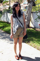 beige shorts - silver vest - brown shoes