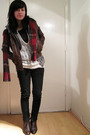 Brown-h-m-jacket-black-kill-city-jeans-gray-american-apparel-sweater-red-v