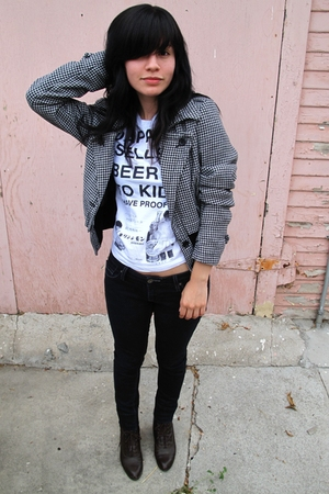 forever 21 jacket - Popkiller t-shirt - vintage boots