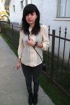 beige blouse - black jeans - black purse - black boots