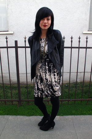 black jacket - white dress - black shoes
