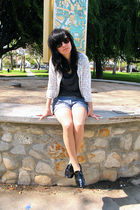 white Forever 21 cardigan - blue Forever 21 shorts - black f-troupe shoes